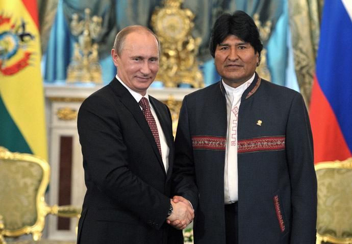 President Vladimir Putin (left) of Russia and his Bolivian counterpart Evo Morales Ayma seen meeting in the Kremlin, July 2, 2013. (RIA Novosti)