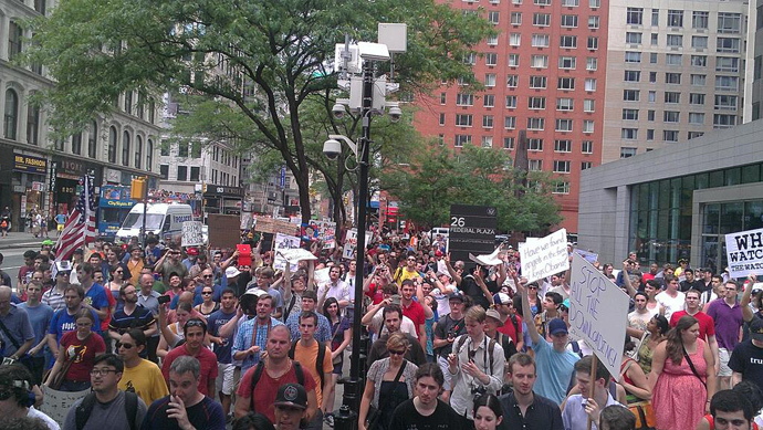 Restore the Fourth protesters march in New York City (image by @TimKarr)