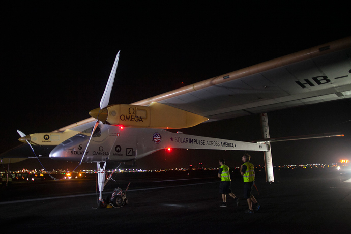 Solar Impulse is seen at JFK airport in New York July 6, 2013 (Reuters / Eric Thayer)