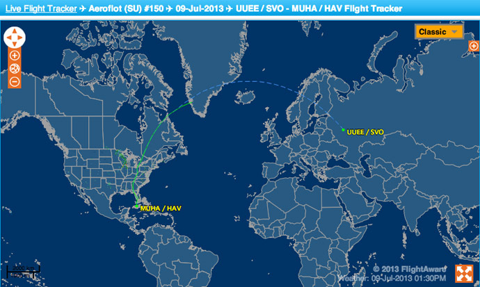 The usual route for Aeroflot 150 from Moscow to Havana, according to flightaware.com flight tracker.