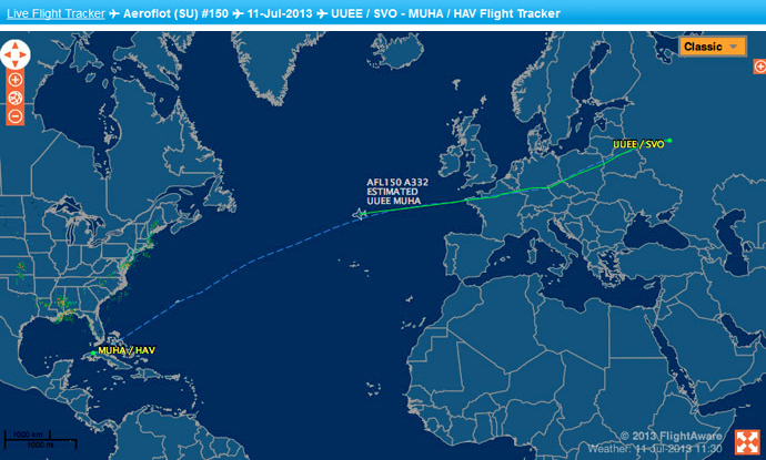 The July 11 route for Aeroflot 150 from Moscow to Havana, according to flightaware.com flight tracker.