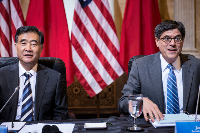 Chinese Vice Premier Wang Yang (L) and US Secretary of the Treasury Jack Lew wait for a roundtable meeting during the 5th US and China Strategic and Economic Dialogue at the US Department of the Treasury July 11, 2013 in Washington, DC (AFP Photo / Brendan Smialowski)