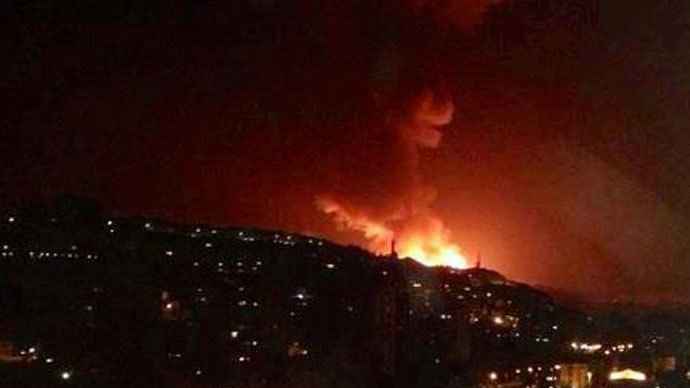 Photo reportedly showing the explosions hitting Damascus suburb of Jamraya on May 3