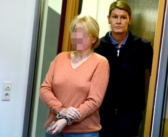 German codenamed Heidrun Anschlag arrives at court on January 15, 2013 in Stuttgart, southern Germany (AFP Photo)