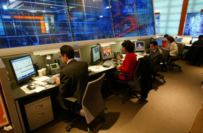 A view inside the BBG Middle East Broadcasting Networks newsroom. (Image from whitehouse.gov)