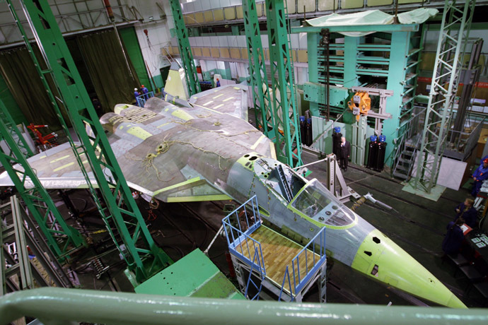 PAK FA T-50 5th Generation Sukhoi jet fighter manufactured at the Sukhoi Company. (RIA Novosti/Alexei Druzhinin)