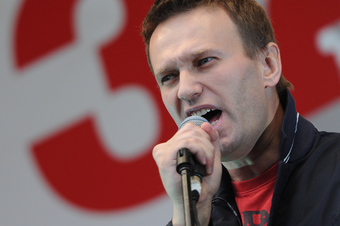 "Blogger Aleksey Navalny speaks during a rally after the ""March of Millions"" rally on Sakharov Avenue, Moscow (RIA Novosti / Ramil Sitdikov)"