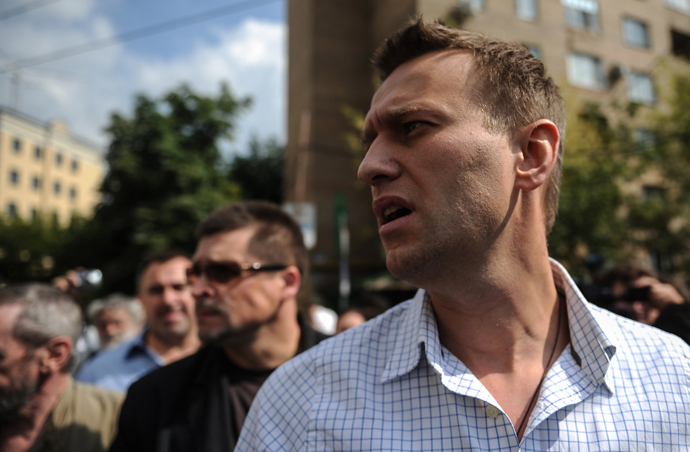 Blogger Aleksey Navalny pictured outside Moscow's Khamovniki Court where a verdict is to be announced on the case of the members of the Pussy Riot punk band (RIA Novosti / Vladimir Astapkovich)