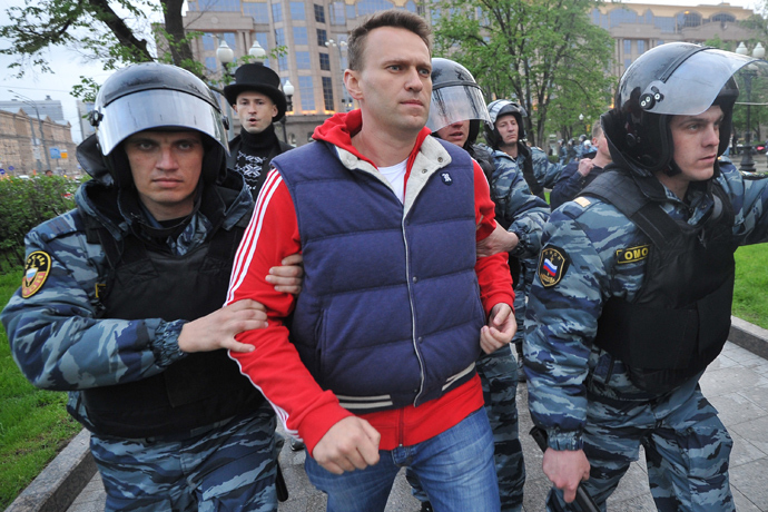 Police officers detain blogger Aleksey Navalny during the opposition rally on Kudrinskaya Square in Moscow (RIA Novosti / Ramil Sitdikov)