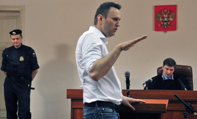 Oppositionist Aleksey Navalny at Kirov's Leninsky District Court that resumed hearings of the Kirovles embezzlement case (RIA Novosti / Sergey Brovko)