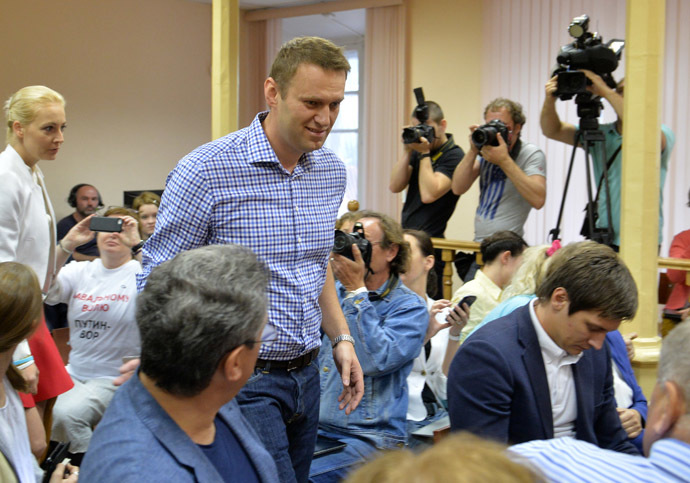 Moscow mayoral candidate and opposition activist Alexei Navalny, charged in Kirovles company embezzlement case, is in Kirov's Leninsky court. (RIA Novosti/Iliya Pitalev)