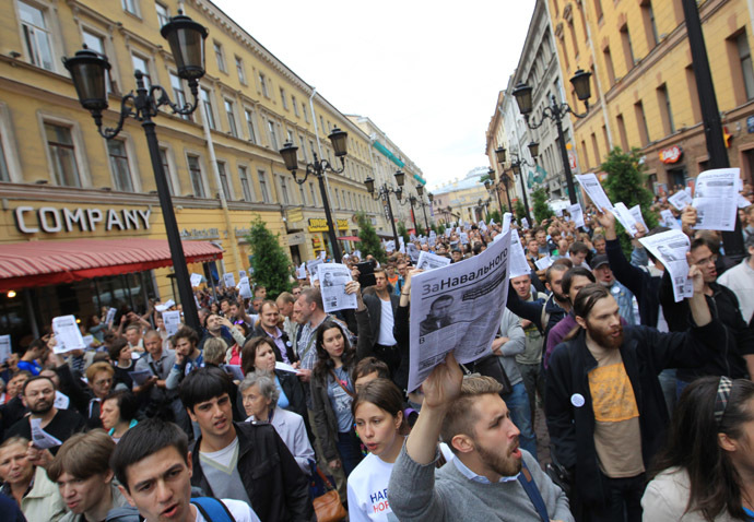 Supporters of Aleksei Navalny gather in St. Petersburg. (RIA Novosti/Igor Russak)