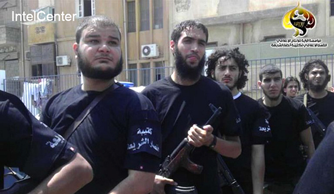 This photo and the following information obtained from IntelCenter on September 12, 2012 reportedly shows forces of Ansar al-Sharia (AFP Photo / IntelCenter)
