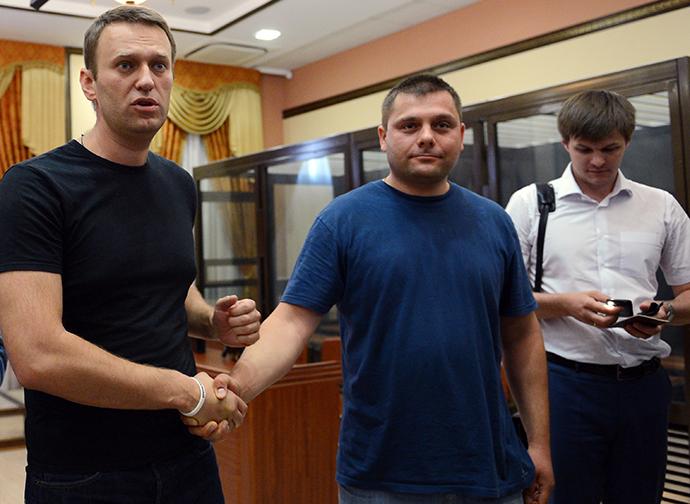 Russian opposition leader Alexei Navalny and Pyotr Ofitserov (RIA Novosti / Ramil Sitdikov)