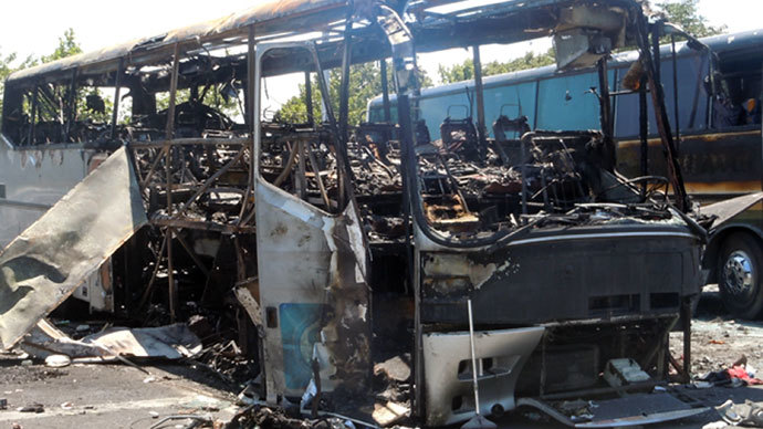 Bulgarian Interior Ministry shows the wreckage of a bus in Burgas after an explosion ripped through the bus on July 18, injuring more than 30 Israelis and killing six people, including the Bulgarian driver.(AFP Photo / Bulgarian Interior Ministry)