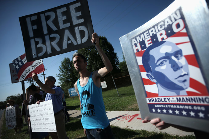 Yoni Miller (R) of Social Movement Technologies, along with other supporters of U.S. Army Pfc. Bradley E. Manning, hold signs to show support during a demonstration outside the main gate of Ft. Meade July 30, 2013 in Maryland. (Alex Wong/Getty Images/AFP)