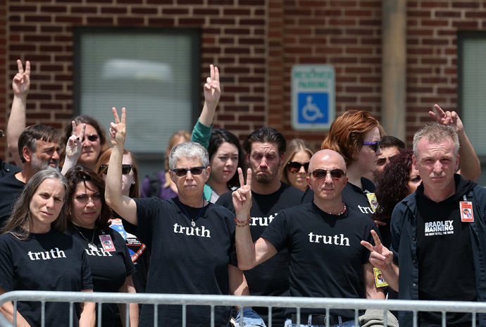 People show support for for U.S. Army Private First Class Bradley Manning after he was found guilty of 20 out of 21 charges at his military trial, July 30, 2013 at Fort George G. Meade, Maryland. (Mark Wilson/Getty Images/AFP)
