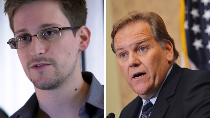 Edward Snowden and Mike Rogers.(AFP Photo / The Guardian / Mandel Ngan)