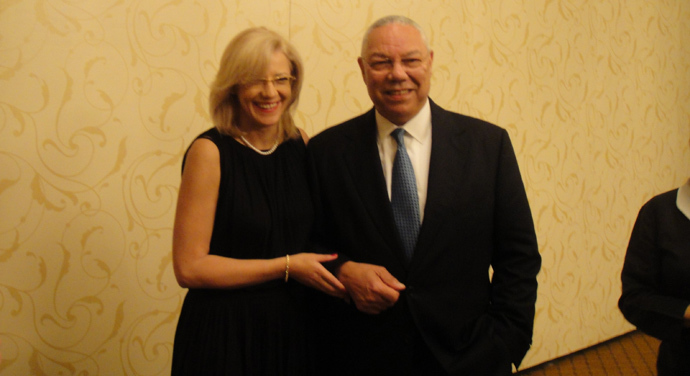 Colin Powell and Corina Cretu at a conference in Washington in July 2011 (photo from Cretu's blog corinacretu.wordpress.com)