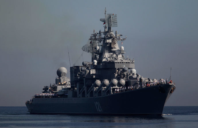 "Russian cruiser ""Moskva"" arrives at Havana Harbor in Cuba August 3, 2013.(Reuters / Enrique De La Osa)"