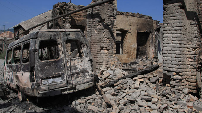 Houses destroyed during a Georgian attack on Tskhinval. (RIA Novosti / Mikhail Fomichev)
