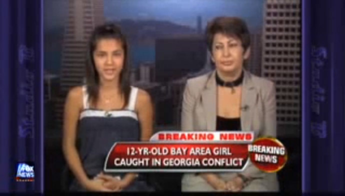Fox News attempted to cut off air a 12-year-old American girl after she thanked Russian soldiers for saving her life. Amanda Kokoeva personally witnessed Georgian attack while she was visiting relatives during the conflict in South Ossetia. (Still from YouTube video/Newsworld001)