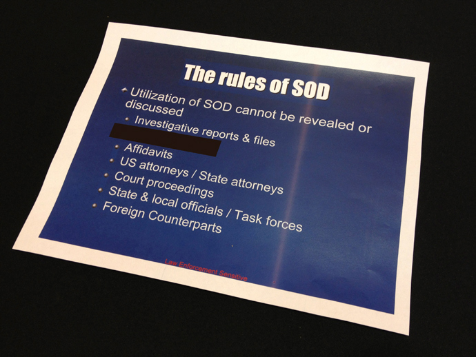 A slide from a presentation about a secretive information-sharing program run by the U.S. Drug Enforcement Administration's Special Operations Division (SOD) is seen in this undated photo (Reuters / John Shiffman)
