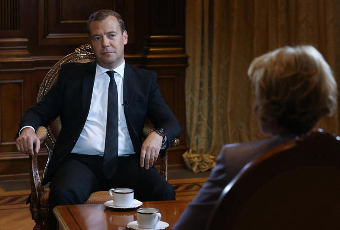 Russian Prime Minister Dmitry Medvedev at the Gorki residence outside Moscow, during an interview for the Russia Today TV channel (RIA Novosti / Ekaterina Shtukina)