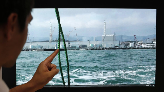 Blair Thornton, associate professor at the University of Tokyo's Institute of Industrial Science Underwater Technology Research Center, points at a video of the Fukushima Daiichi nuclear plant (F1NPP) operated by the Tokyo Electric Plant during a research trip, in Tokyo August 8, 2013. (Reuters/Toru Hanai)