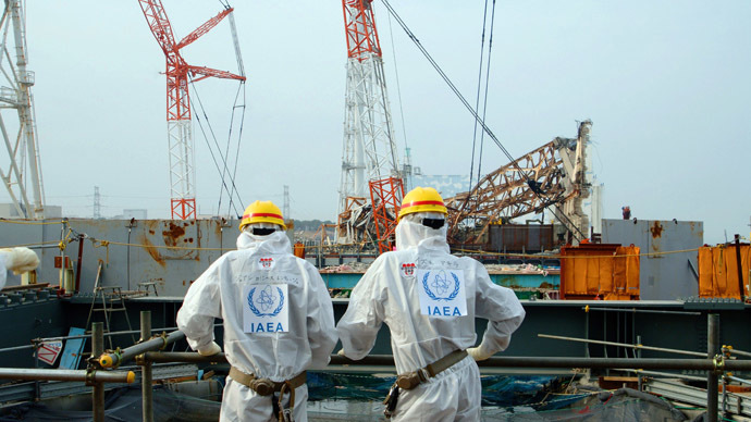 Members of the the International Atomic Energy Agency (IAEA) Division of Nuclear Fuel Cycle and Waste Technology inspect the unit 4 reactor building of the crippled TEPCO's Fukushima Dai-ichi nuclear power plant in Okuma, Fukushima prefecture (AFP Photo)