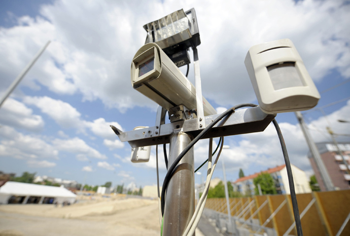 A security camera is seen in front the ten-hectare area where the new national headquarters of the Bundesnachrichtendienst (BND - Federal Intelligence Service) will be built during a ground breaking ceremony in Berlin's Mitte district (AFP Photo)