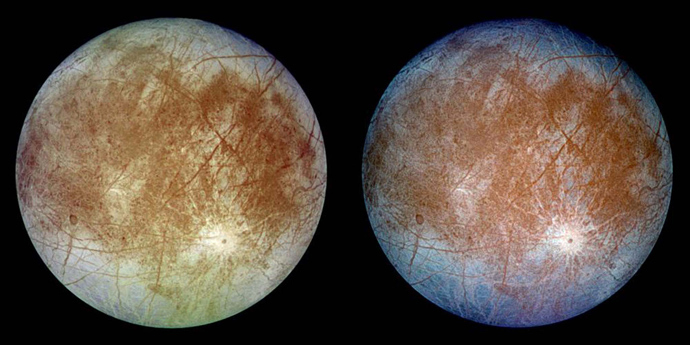 This image shows two views of the trailing hemisphere of Jupiter's ice-covered moon, Europa (Reuters / NASA)