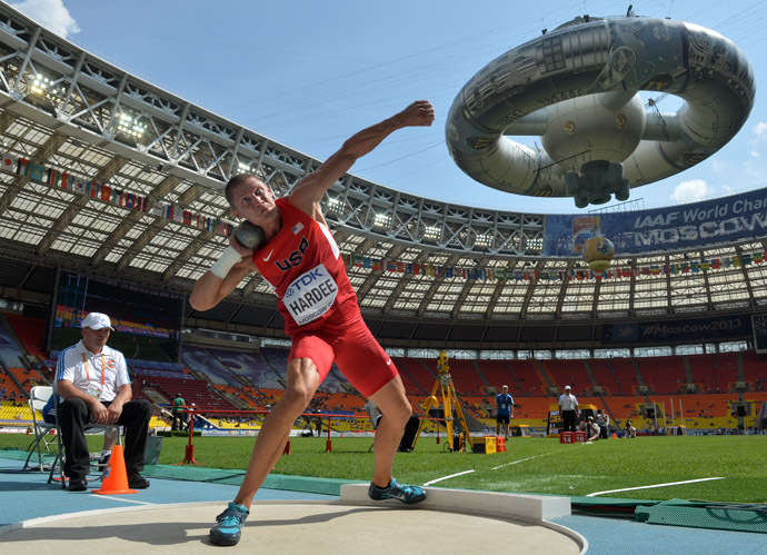 Trey Hardee (United States of America) during the qualifying round of the men's shot put at the World Athletics Championships in Moscow. (RIA Novosti/Iliya Pitalev)