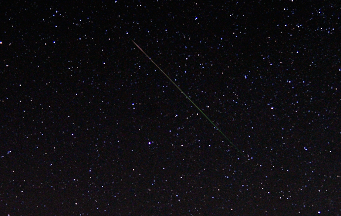 A meteor streaks over the North Star in the northern skies during the Perseid meteor shower early on Monday morning north of Castaic Lake, California August 12, 2013 (Reuters / Gene Blevins)