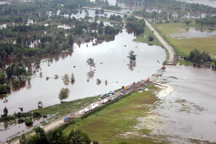 A view of flooded areas from a Russian Emergencies Ministry helicopter. (RIA Novosti)