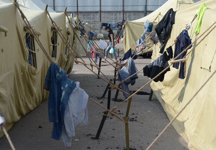 A tent camp for migrants in Moscow's Golyanovo district.(RIA Novosti / Evgeny Biyatov)