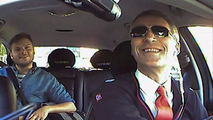 Back seat driver: Norwegian PM uses undercover taxi stunt for election ruse