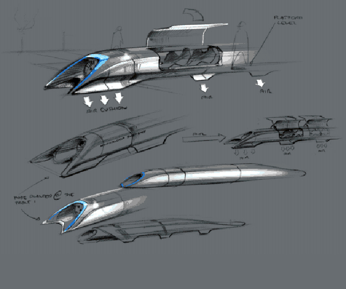 Hyperloop passenger transport capsule conceptual design sketch (Image from teslamotors.com/blog/hyperloop)