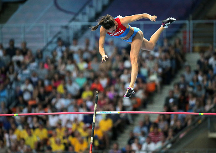 Russia's Elena Isinbayeva competes in the women's pole vault final at the 2013 IAAF World Championships at the Luzhniki stadium in Moscow on August 13, 2013. (RIA Novosti / Vitaliy Belousov)
