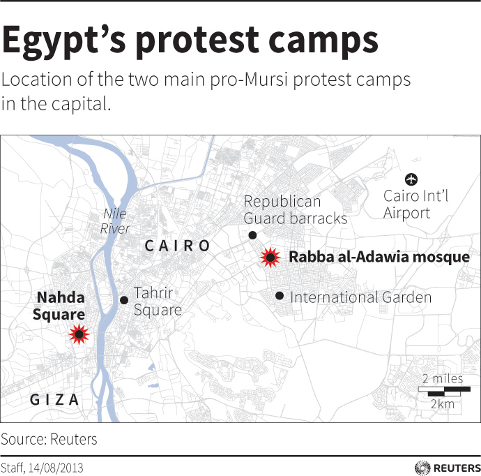 Map of Cairo locating the main protest camps used by pro-Mursi supporters (Reuters)