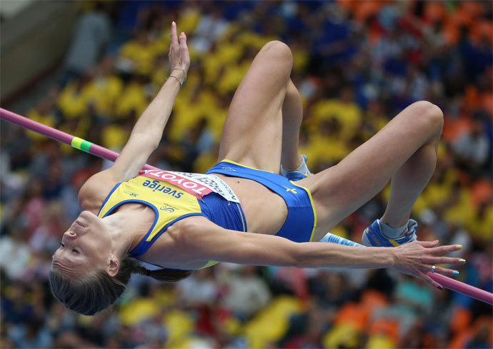 Sweden's Emma Green Tregaro competes during the women's high jump qualifications at the 2013 IAAF World Championships at the Luzhniki stadium in Moscow on August 15, 2013.(AFP Photo / Franck Fife)