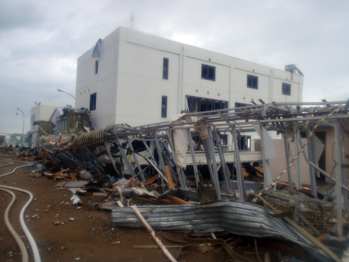 A destroyed building of TEPCO's Fukushima Daiichi (No. 1) atomic power plant at Okuma town in Fukushima prefecture (AFP Photo)