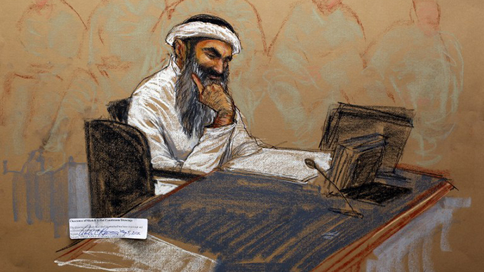 In this courtroom drawing reviewed and approved for release by a US military security official, Khalid Sheikh Mohammed sits in court on May 5, 2012 at the US Naval Base in Guantanamo Bay, Cuba. (AFP Photo / Janet Hamlin)