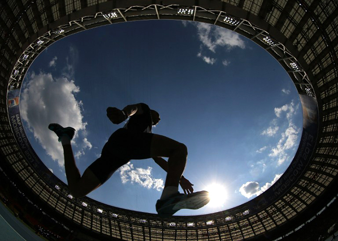 IAAF World Championships at the Luzhniki stadium in Moscow on August 18, 2013. (AFP Photo / Adrian Dennis)
