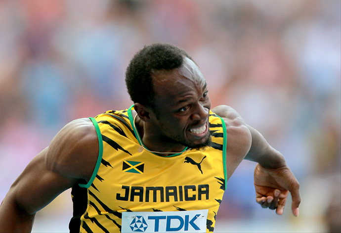 Jamaica's Usain Bolt in the men's 4x100m final relay race at the 2013 World Championships in Athletics in Moscow on August 18, 2013. (RIA Novosti / Vitaliy Belousov)