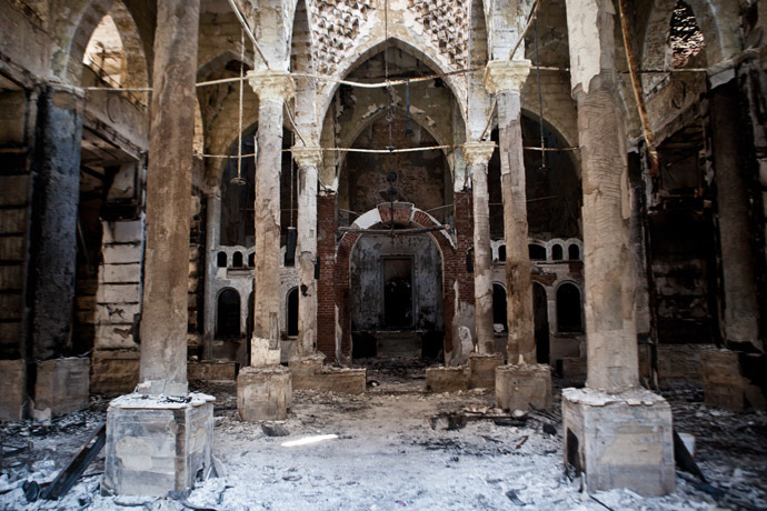 A picture taken on August 18, 2013 shows the Amir Tadros coptic Church in Minya, some 250 kms south of Cairo, which was set ablaze on August 14, 2013. (AFP Photo/Virginie Nguyen Hoang)