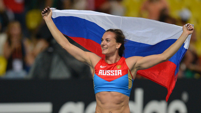 Yelena Isinbayeva (Russia) after her win in the women's pole vault final at the World Championships in Athletics in Moscow. (RIA Novosti/Ramil Sitdikov)