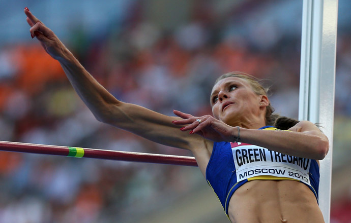 Sweden's Emma Green Tregaro competes during the women's high jump final at the 2013 IAAF World Championships at the Luzhniki stadium in Moscow on August 17, 2013. (AFP Photo/Adrian Dennis)