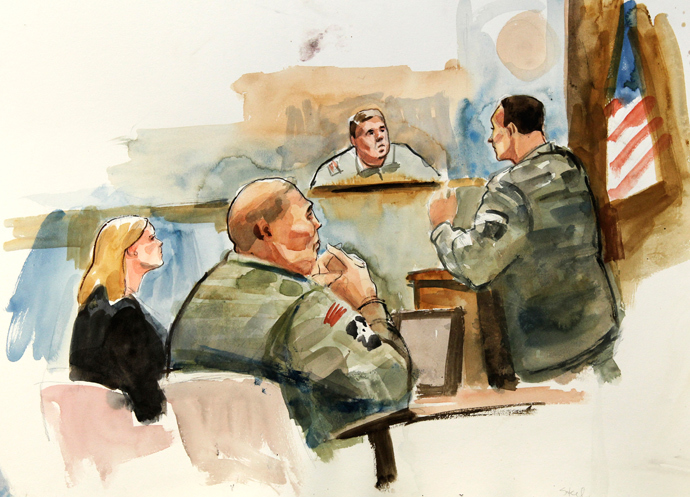 This courtroom artist's sketch shows Staff Sgt. Robert Bales (2nd L), his civilian defense attorney Emma Scanlan (L) and presiding investigation officer Col. Lee Demecky (C) listening to prosecuting military attorney Maj. Rob Stelle (R) give his closing argument during the final day of the Article-32 proceedings for Staff Sgt. Robert Bales at Joint Base Lewis-McChord November 13, 2012 (Reuters / Lois Silver)
