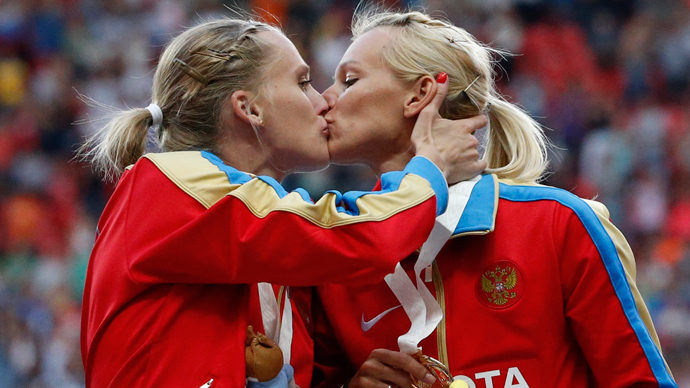 Russian medalists 'insulted' at 'gay claims' over podium kiss